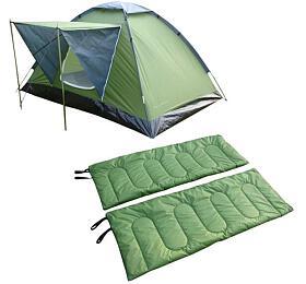 SportTeam obsahuje stan a2x spací pytle, 2osoby, jednovchodový, jednoplášťový, zelená