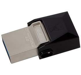 KINGSTON DT MicroDuo 64GB / 2v1 - microUSB a USB 3.0 / OTG / černo-stříbrná