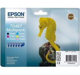 Epson T0487, 6x13ml originální -černá/červená/modrá/žlutá