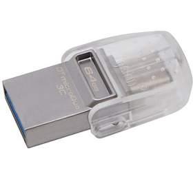 KINGSTON DT MicroDuo 64GB / 2v1 - USB 3.0 a USB Typ-C / OTG / šedá