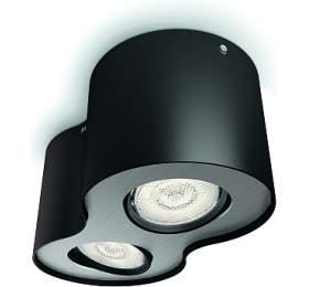 Phase SVÍTIDLO BODOVÉ LED 2x4,5W 1000lm 2700K, černá Philips 53302/30/16