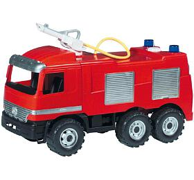 Mercedes auto hasiči plast 60cm stříkací vodu nádržka 1,6l vkrabici 68x38x27cm