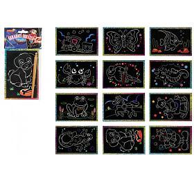 Škrabací obrázek třpytivý barevný 15x10cm 24ks vboxu