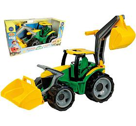 Traktor selžící abagrem plast zeleno-žlutý 65cm vkrabici od3 let
