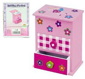 Skříňka šperkovnice růžová 2zásuvky odklápěcí vrch police dřevo 12,2x8,16x8,7cm vkrabici