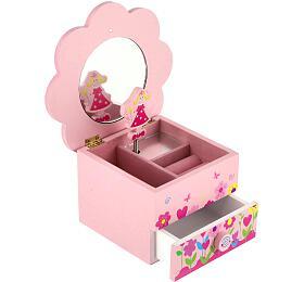 Skříňka šperkovnice Princess dřevo hrající květina zásuvka 14,5x8x14,5cm