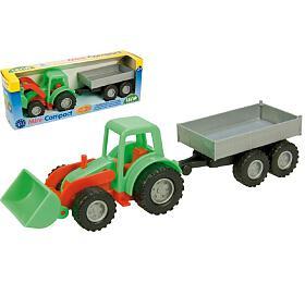 Traktor Mini Compact spřívěsem plast 24cm vkrabici