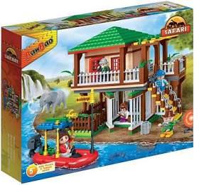 Stavebnice BanBao Safari lodge s ohradami 456ks + 5 figurek v krabici