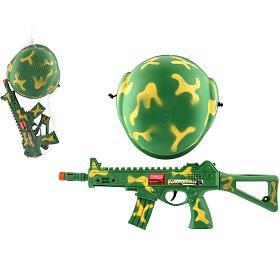 Vojenská sada samopal 31cm nasetrvačník jiskřící+helma/přilba vsíťce