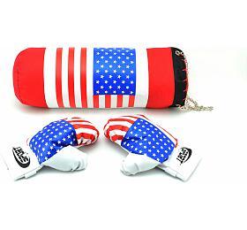 Boxovací pytel +rukavice vsíťce 45x15cm