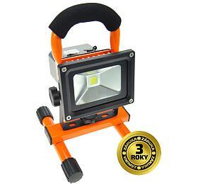 Solight LED reflektor 10W, přenosný, nabíjecí, 700lm, 6000k, oranžovo-černý WM-10W-DE