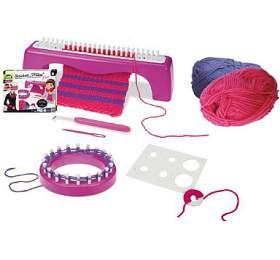 Studio pletení: Pletací stůl Miley 3v1+ pletení plast sdoplňky vkrabici 30x24x7cm 6+