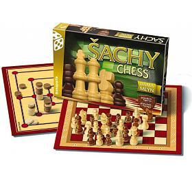 Šachy, dáma, mlýn společenská hra vkrabici 35x23x4cm