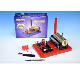 Stavebnice MERKUR funkční model parního stroje Standart vkrabici 28x11x20cm
