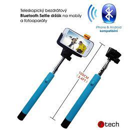 C-TECH MP107M pro mobil, monopod, Bluetooth dálková spoušť, modrý