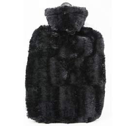 Termofor Hugo Frosch Classic sobalem zumělé kožešiny –černý spodšívkou
