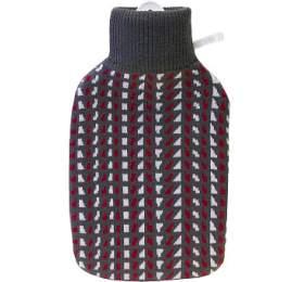Termofor Hugo Frosch Classic s pleteným retro obalem – šedá/bordó