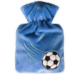 Dětský termofor Hugo Frosch Classic Junior, modrý fleecový obal - fotbalový míč