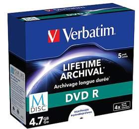 Verbatim DVD-R M-Disc 4,7GB, 4x, printable, jewel box, 5ks