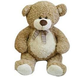 Medvěd smašlí velký plyš 80cm béžový kudrnatý 0+
