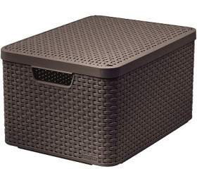 Úložný box RATTAN Style2 Ls víkem -hnědý CURVER