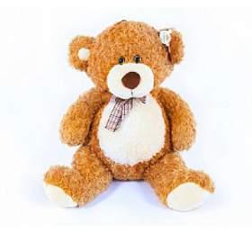 Medvěd smašlí velký plyš 80cm světle hnědý kudrnatý 0m+