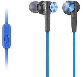 Sony MDR-XB50AP, modrá sluchátka do uší Extra Bass s ovladačem na kabelu