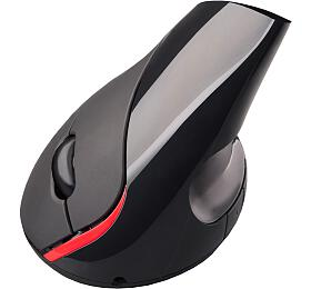 C-TECH VEM-07, vertikální, bezdrátová, 5 tlačítek, černá, USB nano receiver