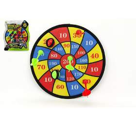 Terč na suchý zip 29cm 4 šipky 2ks míčky na kartě