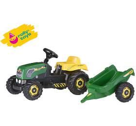 Šlapací traktor Rolly Kid s vlečkou - zelený ROLLYTOYS
