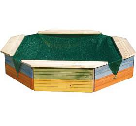 Dřevěné 8mi hranné pískoviště WOODY, barevné