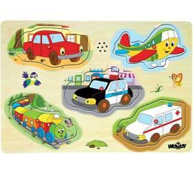 Woody puzzle muzikální dopravní prostředky zvukové set 5 dílků