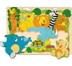 """Puzzle na desce """"Veselá africká zvířátka"""" WOODY"""