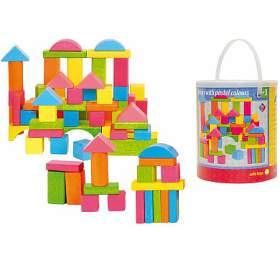 Stavebnice kostky barevné - pastelové, 75 dílů WOODY
