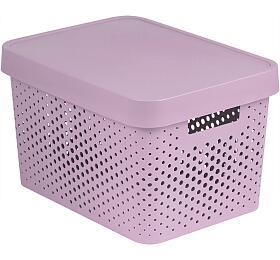 Úložný box INFINITY 17l s víkem růžový puntíky CURVER