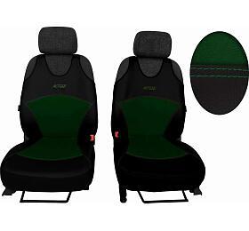 Autopotahy Active Sport kožené salcantarou, sada pro dvě sedadla, zelené SIXTOL