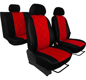 Autopotahy Škoda Fabia II, kožené EMBOSSY, dělené zadní sedadla, červené SIXTOL