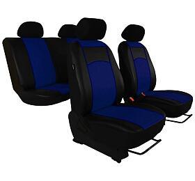 Autopotahy Volkswagen VW T5, 3 místa, kožené TUNING, modré SIXTOL