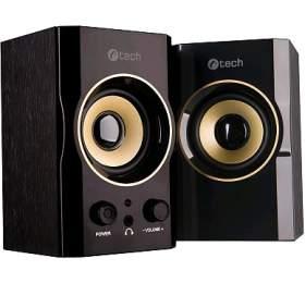 C-TECH SPK-11, 2.0, dřevěné, černo-zlaté, USB