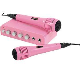 König HAV-KM11P- Karaoke mixer + 2 mikrofony, růžový