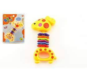 Chrastítko žirafa plast 15cm nakartě 3m+
