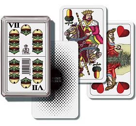 Mariáš dvouhlavý společenská hra karty vplastové krabičce 6,5x10,5x2cm