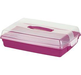 Podnos dortový s poklopem - růžová CURVER