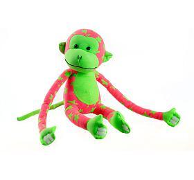 Opice svítící vetmě plyš 45x14cm růžová/zelená vkrabici
