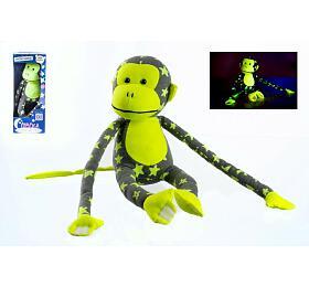 Opice svítící vetmě plyš 45x14cm šedá/žlutá vkrabici