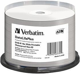 VERBATIM DVD-R 4,7GB 16x WIDE GLOSSY WATERPROOF PRINT. No ID spindl 50pck/BAL