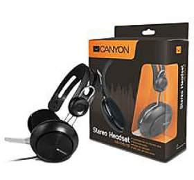 CANYON klasický USB headset, sluchátka s mikr., ovladač hlasitosti, černý