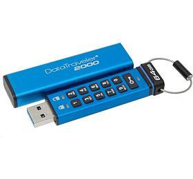 KINGSTON DT2000 64GB /USB 3.0 /256-bit AES HWšifrování /keypad /modrá