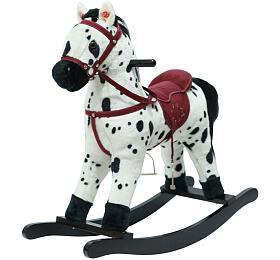 Kůň houpací bíločerný plyš nabaterie 71cm sezvukem apohybem nosnost 50kg vkrabici