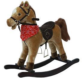 Kůň houpací hnědý plyš nabaterie 71cm sezvukem apohybem nosnost 50kg vkrabici